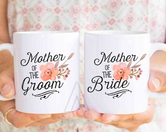 mother of the bride and groom gifts, personalized wedding mug set, gifts for mother of the bride, mother of groom gift, wedding gifts  MU240