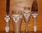 Rustic Wedding Champagne Flute and Beer Glass with Cake Serving Set / Country Wedding Toasting Glasses / Rustic Wedding Cake Cutting Set