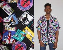 Vintage 1990s Jantzen Swimwear Novelty Rainbow Men's Short Sleeve Button Up Dress Shirt  - 90s  Novelty Tops  - MT0722