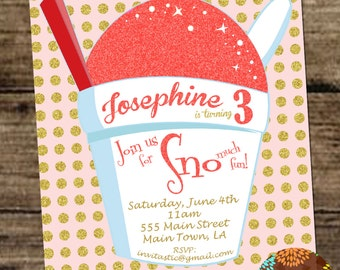 Snoball Birthday Invitation-New Orleans Sno-ball, Snow Cone, Shaved Ice Glitter Girls Invite, Pink and Gold Summer Birthday Party Invite