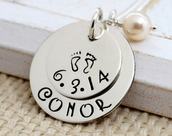 Mother Necklace, Baby Feet Necklace, Personalized Necklace, Gift, Mother, New Mom, Sterling Silver