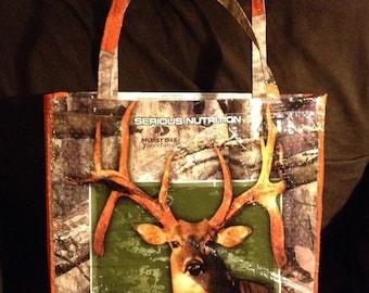 Repurposed, recycled, upcycled Deer Tote Bag GROCERY BAG