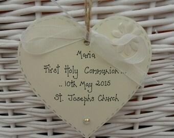 First Holy Communion personalised shabby heart chic keepsake/gift 10cm