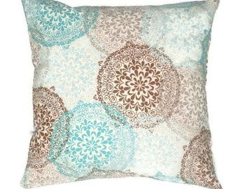 Indoor/Outdoor Pillow Cover In A Soft Blue and Brown Medallion Print, Indoor Outdoor Pillow Cover, 18 x 18 Inches