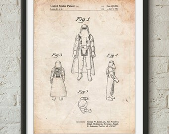 Star Wars Snowtrooper Patent Poster, Star Wars Character, Movie Art, Starwars Gift, PP0380