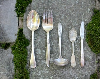 Qty 5 Ornate Silverplate Serving Pieces. Vintage. Mismatched Flatware. Serving Spoon, Serving Fork, Gravy Ladle, Sugar Spoon, Butter Knife.