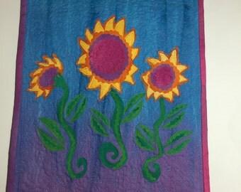 Sunflower Art Quilt - 10 x 12'' Wall Hanging