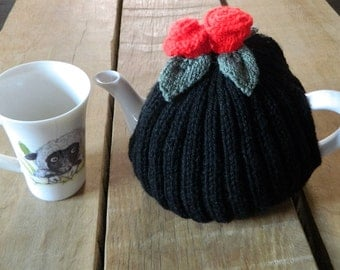 Black tea cosy, hand knitted, Tea Cosie, Red Flower cosy, knit cozy, Roses, Tea Pot Cover, Tea Lover's Gift, fits 4-6 cup, Hand made gifts,