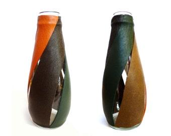 Geometric vase, Glass Vase, Leather vase, Modern Vase, Contemporary Vase, Home decor, Flower Vase, Gift Idea, Home decoration