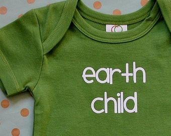 Earth Child Baby Bodysuit in Eco Green - Short Sleeve Organic Cotton for Baby Girls or Boys