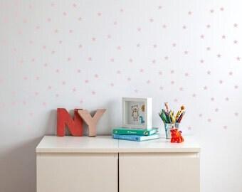 Little Stars Wall Decal. Nursery pink, fucsia or white little stars wall stickers. Little Star Wall Decals. Children stars. Nursery decor