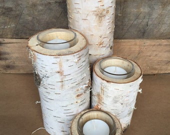 "Set of 4 Birch Pillars with Glass Tea Light Holder and Candle - 2"", 4"", 6"" & 8"""