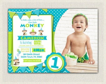 First Birthday Invitation boys monkey invite blue green party invitation baby blue monkey green invitations printable personalized