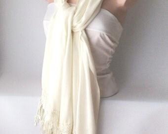 Wedding Shawl, Bridal Shawl, Cream, Ivory  Wrap Shawl with  Lace