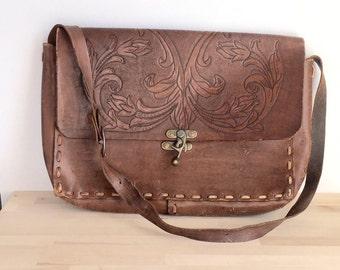 Hand Carved/Tooled Leather Messenger Bag / Purse