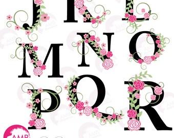 Floral Alphabet Clipart, Floral clipart, Letters J to R, commercial use, digital clip art, AMB-933