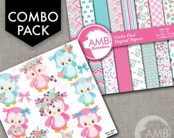 COMBO Owl Clipart and Digital Papers Pack, Forest animals, Floral Owls Clipart, Baby Owlettes with Flowers, Commercial Use, AMB-1613