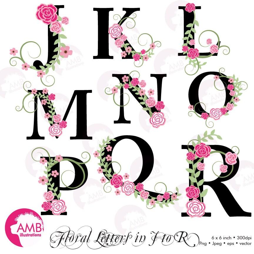 Floral Alphabet Clipart Floral Clipart Letters J To R