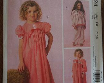 McCalls M5224, sizes 6-7-8, childrens, girls, top, pants, gown, robe, pjs, pajamas, UNCUT sewing pattern, craft supplies