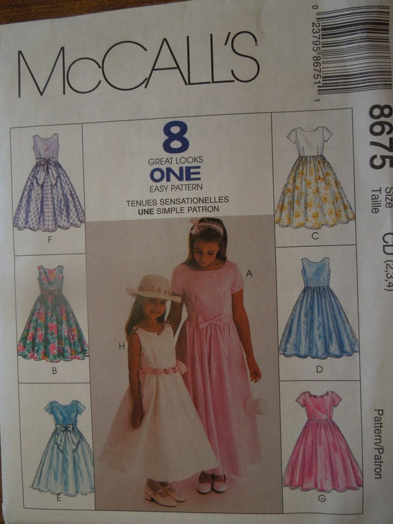Mccalls 8675 size 2 3 4 childrens girls dress wedding for Wedding dress sewing supplies