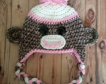 Crochet PINK Sock Monkey Hat--Made to Order