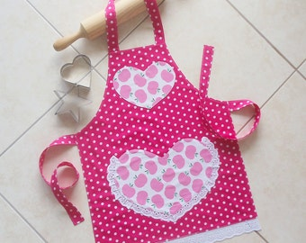 Girls Apron pink, kids kitchen craft play art apron, childs lined cotton apron in pink apples polka dots & lace heart pocket, Pretty in Pink