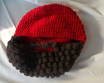 Crochet Beard hat you pick colors and size!
