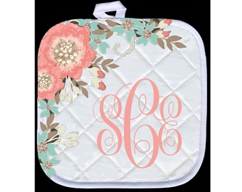 Custom, Personalized Pot Holder - Flowers - Add Your Text or Monogram - Free Standard Shipping