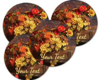 Custom Round Coaster Set. Fall Flowers Personalize With Your Text - Free Standard Shipping