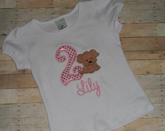 Birthday Shirt Puppy Dog Baby Toddler Girls custom applique sequin brown  12 18 24 months 2t 3t 4t 5t