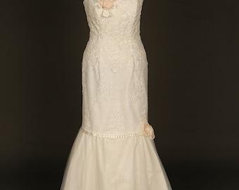 SALE... Sparkling fishtail lace wedding dress. Lace bridal gown. Sequin wedding dress. Fishtail bridal gown. Ivory lace wedding dress.