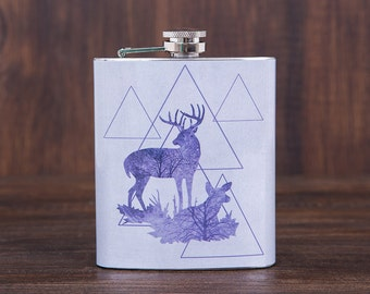 Deers flask, gift for men, boyfriend gift, flask for men, mens flask, gitf for him, birthday gift for him, pocket size flask, 7 oz hip flask