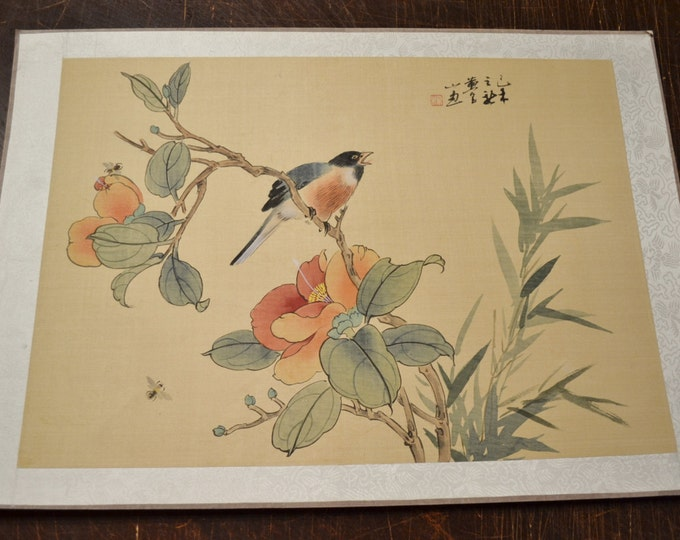 Vintage Silk Painting Singing Bird on Branch Insects Bees Flowers Signed Japanese Panchosporch