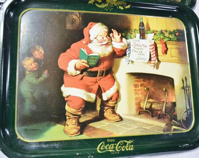 Vintage Coca Cola Santa Claus Tray Set of 2 Coke Collectible Christmas Holiday Decor Panchosporch
