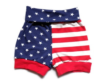 American flag shorties//boy//girl//baby//4th of july//patriotic//red white & blue//stars and stripes
