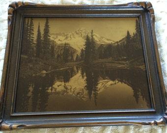 Antique James Barton Orotone Photograph Mount Rainer Mirror Lake Washington State