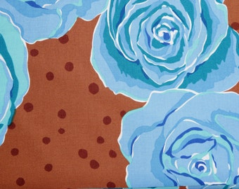 Valorie Wells fabric Roses VW07 BLUE Brown floral Sewing Quilting cotton fabric by the yard 100% cotton Free Spirit fabric