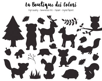 Woodland Animals Silhouette Clipart, Cute Graphics EPS and PNG, Fox, bear, bunny, deer, squirrel, Forest, Woodland party Clip art
