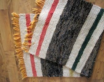 swedish vintage floor rag rug with cotton fringes woven floor runner striped rug rag rustic floor
