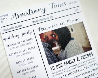 Wedding Program Newspaper