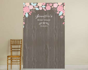 Rustic Wood Personalized Photo Booth Backdrop - JM11849