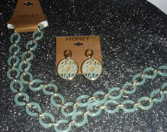 """Mid 60""""s MONET Set, Necklace and earrings."""