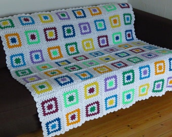 Colorful Sofa Throw Blanket Colorful Afghan Blanket Colorful Crochet Blanket Colorful Crochet Afghan