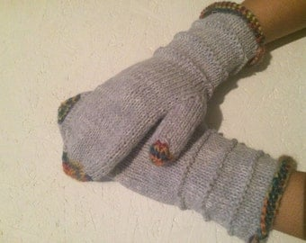 ready to ship! gray winter mittens gray white multicolor women knitting  mittens  gray Women   Arm Warmers winter accessory Christmas gift