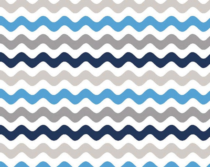 One Yard Wave - Small Waves Tone on Tone in Blue / Gray - Cotton Quilt Fabric - by RBD Designers for Riley Blake Designs - C405-42 (W3282)