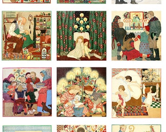 Vintage Christmas Fabric Panel vintage images set of 12