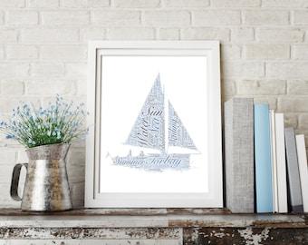 Personalised Sailing / Yacht / Boat / Dinghy Word Art Print Wordart UK