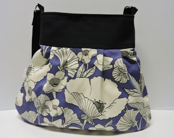Conceal Carry Handbag/Slouchy Hobo Bag/CCW Handbag/Purple and Off White Flowery