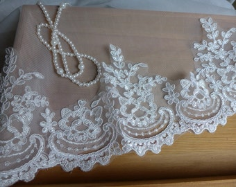 White Wedding Veil Bridal Alencon Lace Trim Embroidered Fabric by yard