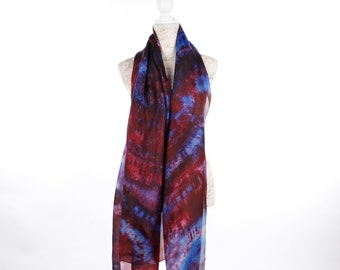 oversized silk scarf blue and red/ dark fashion silk scarf / Long multicolour silk veil / scarlet  and turquoise silk shawl
